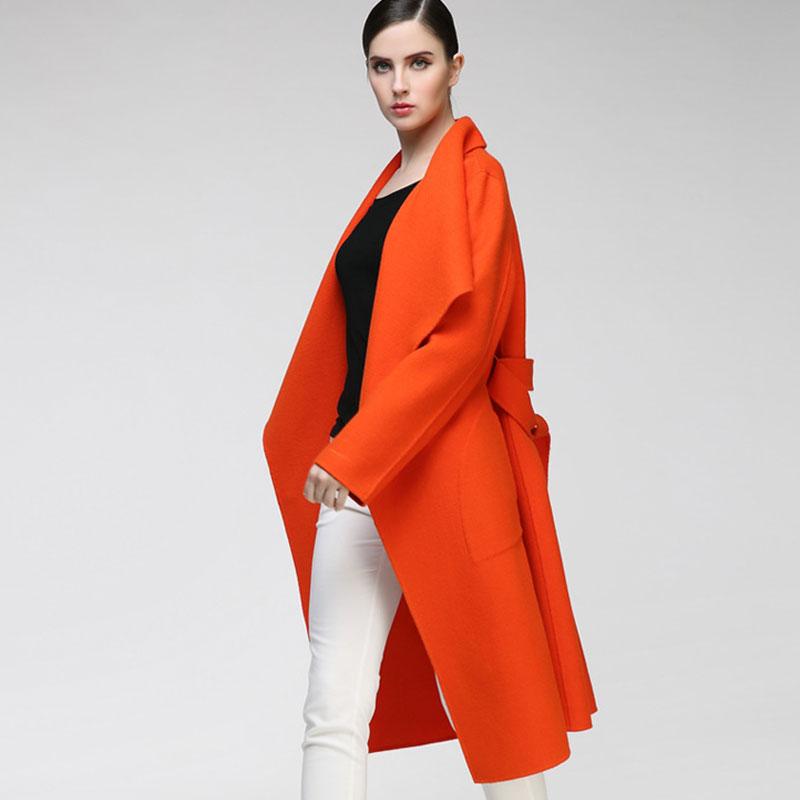 多色羊绒大衣 双面呢大衣